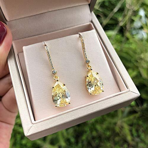 Earrings Gold Color 9 * 13MM Citrine Diamond Earrings Real Silver 925 Fine Jewelry Drop Earrings Wedding Engagement Gift for Women Yellow