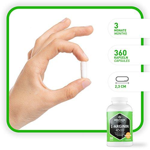 Vitamaze® L-Arginina 4500 mg ad Alto Dosaggio, 360 Capsule di Pura L-Arginina HCL Polvere, Qualità Tedesca, Naturale Integratore Alimentare senza Additivi non Necessari