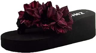 THE LONDON STORE Women's Multi-Color Flower EVA Platform Slippers Wedge Heels Sandals Wine-Red