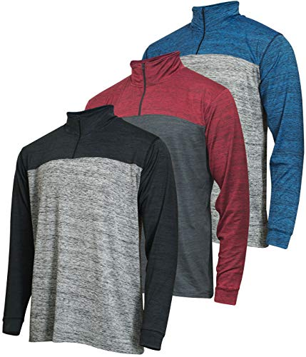 Mens Quarter 1/4 Zip Pullover Long Sleeve Athletic Quick Dry Dri Fit Shirt Gym Running Performance Golf Half Zip Top Thermal Workout Sweatshirts Sweater Jacket - 3 Pack-Set 1,XXL