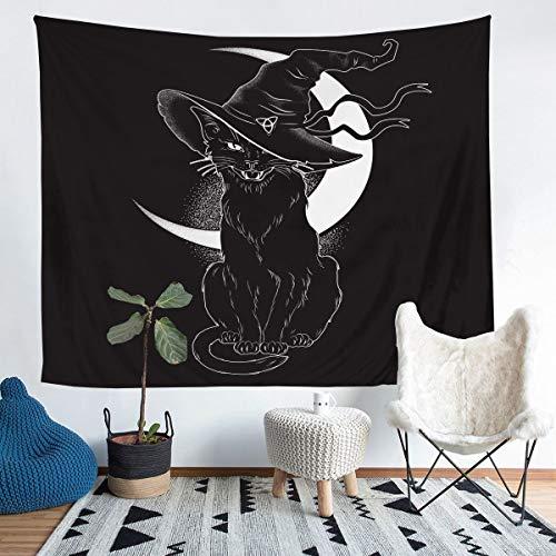 Manta para colgar en la pared, diseño de gato negro con gorro, diseño de luna, para niños, niñas, microfibra, temática de Halloween, manta para decoración de habitación, tamaño mediano 51 x 59
