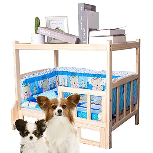 camas para perros Cama Para Mascotas Elevada De Madera Maciza con Ropa De Cama Sofá De Lujo para Cuna para Mascotas Desmontable y A Prueba De Humedad para Todas Las Estacio(Size:90*55,Color:Upgrade)