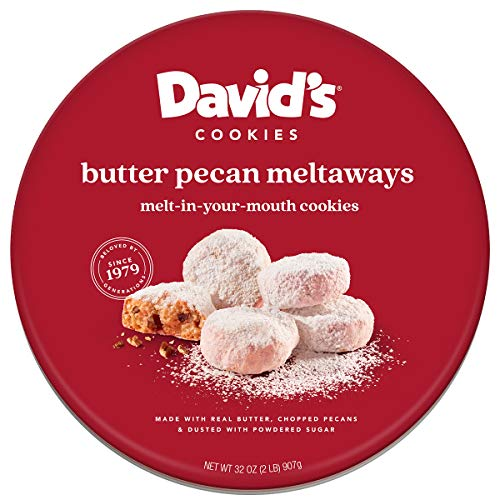 David's Cookies Gourmet Cookies Butter Pecan Meltaway – 32oz Butter Cookies with Crunchy Pecans and Powdered Sugar – All-Natural Ingredients – Kosher Recipe – Ideal Present for Special Occasions