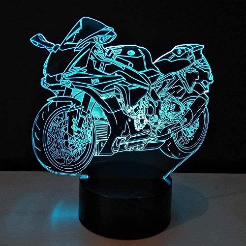 Luz tridimensional 3D motocicleta LED luz nocturna bombilla luz juguete color variable lámpara de mesa tablero de metacrilato luz nocturna para niños lámpara acrílica