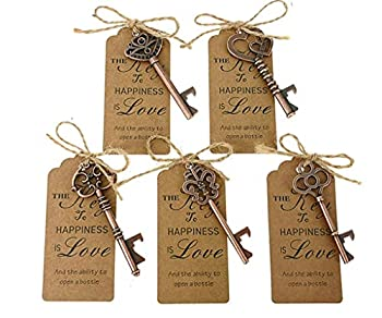 50pcs Skeleton Key Bottle Opener Wedding Party Favor Souvenir Gift with Escort Tag and Jute Rope  Copper Tone,5 styles