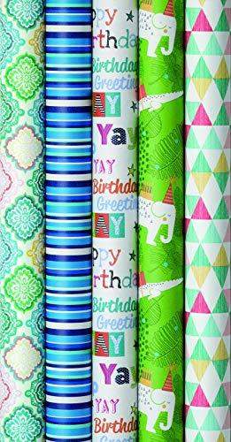 5 Rollen Premium Geschenkpapier, biologisch abbaubar, Recyclingpapier, Farben auf Wasserbasis, Geburtstag, Geschenkverpackungen 2m x 0,7m