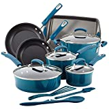 Rachael Ray Brights Nonstick Cookware Set / Pots and Pans Set - 14 Piece, Marine Blue