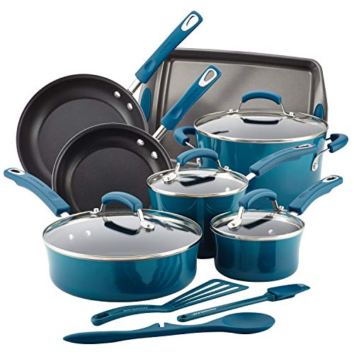 Rachael Ray Brights Nonstick Cookware Set / Pots and Pans Set - 14 Piece, Marine Blue