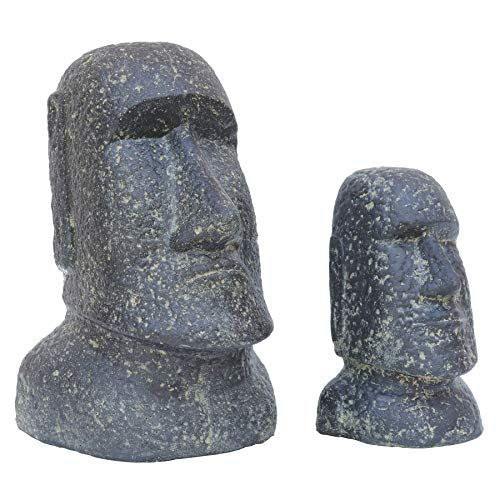 STONE art & more 2er Set Moai, Osterinsel-Kopf, 20 cm und 30 cm, Steinfigur, Steinguss, frostfest
