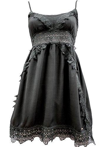 Khujo Damen Kira Woven Kleid Short, Grau (Charcoal 281), 44 (Herstellergröße:L)