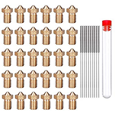 HAWKUNG 40 Pcs 3D Printer Brass Nozzle Cleaning Kit, 30 Pcs 0.4mm V6 Extruder Nozzles + 10 Pcs Stainless Steel Nozzle Cleaning Needles with Free Storage Box for Makerbot 3D Printer