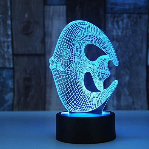Luces de ilusión 3D, nuevo modelo creativo de peces oceánicos moderno 3D pequeña luz nocturna tridimensional LED regalo de cumpleaños pequeña luz de mesa regalo para niños