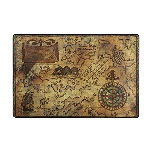 Vantaso Soft Foam Area Rugs Old Pirate Map Non Slip for Kids Boys Girls Playing Room Living Room 36x24 inch