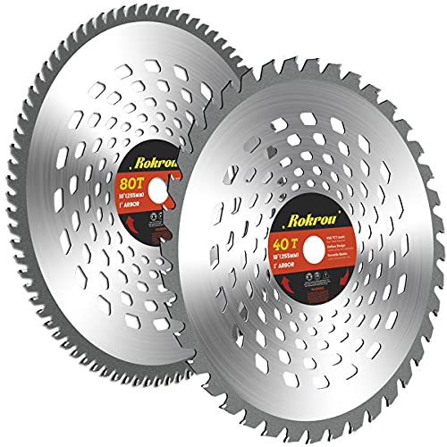 Rokrou 2 Pack Weed Eater Blades Brush Cutter Blades 10' 80T &10' 40T, Brush Cutter Trimmer with Washer Adapter 25.4mm/1' to 20mm/0.78'