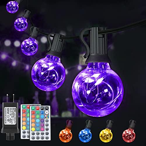 LED Lichterkette Außen Innen Bunt, G40 Lichterkette Außen Strom, 7 Modus 16 Farben Wasserdicht IP65 Glühbirne mit Fernbedienung für Halloween...