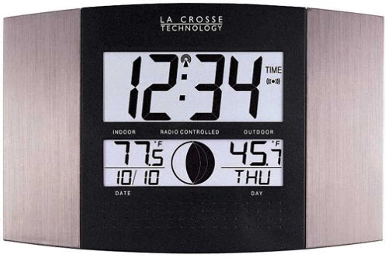 La Crosse Technology WS-8117U-IT-AL Atomic Wall Clock with Indoor/Outdoor Temperature