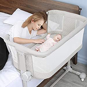 Baby Bassinet Bedside Sleeper, BABLE Baby Bedside Sleeper for Baby Newborn, Bassinet Portable Crib Baby Bed with Wheels, 6 Height Adjustable Bassinet for Baby Boy Girl