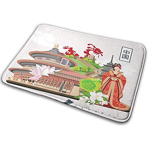 Felpudo Alfombra de baño Alfombrilla Alfombra China Antigua Atributos Chinos Antiguos del Vestido de Fénix Lotus Flower Dragon Palace