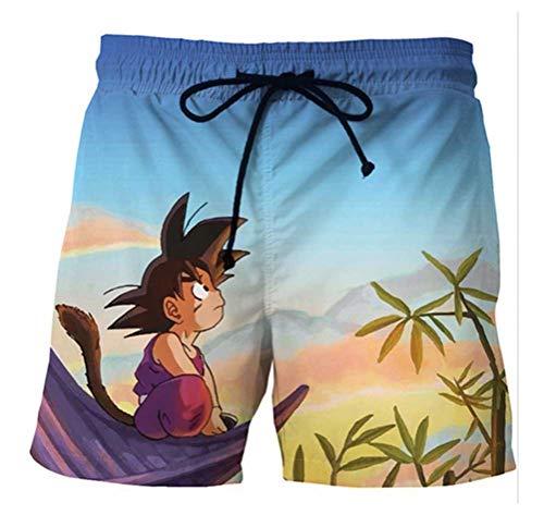 WANHONGYUE Anime Dragon Ball Z Goku Herren Badehose Strand Shorts 3D Druck Sommer Beach Shorts Boardshorts Swim Trunks 1121/15 XL
