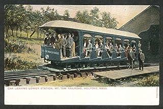 Car at Lower Station Mt Tom Railroad Holyoke MA undivided back postcard 1900s