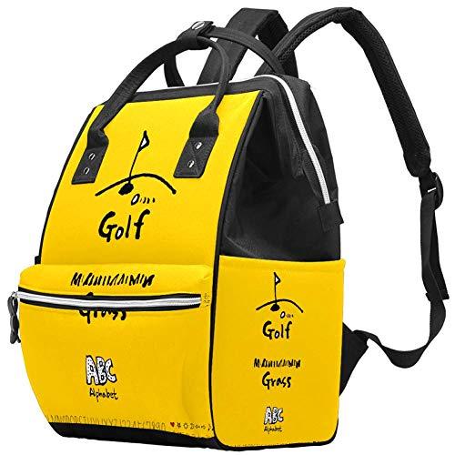 Sac à dos de golf jaune alphabet ABC Sac à langer Sac à dos multifonction pour bébé Motif maman
