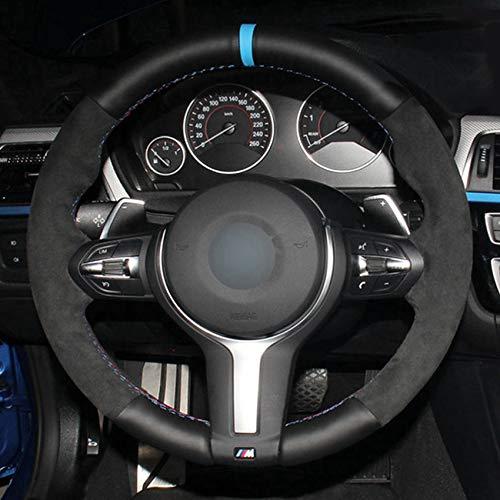 JIANGJUNCHE Für DIY Soft Black Echtleder Lenkradabdeckung für BMW M Sport F30 F31 F34 F10 F11 F07 X1 X2 X3 F25 F32 F33 F36 F48 F39 Lenkungsabdeckungen Typ 1,White Thread