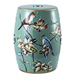 Luckykey 36inches Pattern Ceramic Garden Stool or Side Table Garden Stool Plant Table, Oriental Chinese Style Glazed Porcelain Stool, Indoor Outdoor Ceramic Decorative Garden Stool