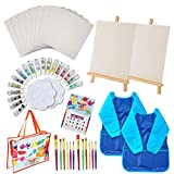 48 Pieces Art Painting Supplies for Toddlers Kids with 12 Paint Brushes, 10 Painting Canvas, 2 Tabletop Easels, 2 Art...