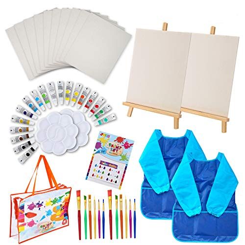 48 Pieces Art Painting Supplies for Toddlers Kids with 12 Paint Brushes, 10 Painting Canvas, 2 Tabletop Easels, 2 Art Smocks, 18 Acrylic Painting Colors, Paint Palettes, Color Guide, Travel Bag