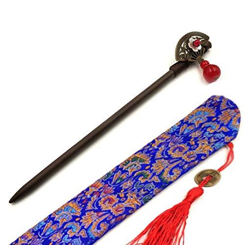 Haar Sticks Hout met Metalen Ventilator en Stenen Sieraden Haar Folk Haarspeld voor Vrouwen Meisjes Vintage Stijl Haar Stick voor Lange Haar eetstokjes Accessoires