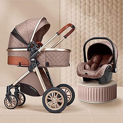 3 en 1 cochecitos para bebés, carro para bebés portátiles, cochecitos de cochecito plegable, implementación bidireccional, ruedas de amortiguación, colchón con bolsa de mamá y cubierta de lluvia