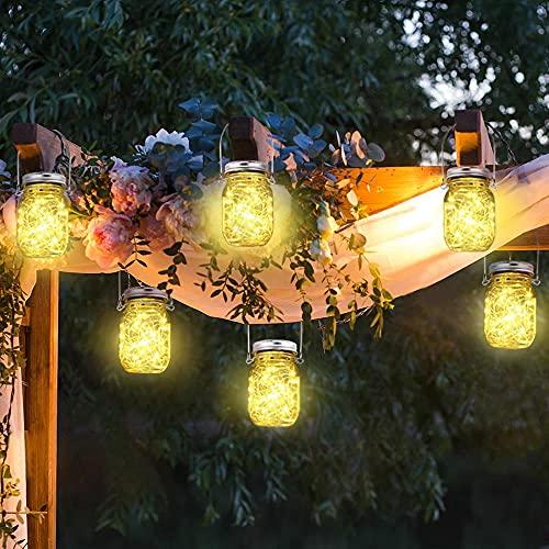 30 luces LED de hadas alimentadas por energía solar con tarros y perchas Luces solares colgantes impermeables Linternas solares decorativas para exteriores para jardín...
