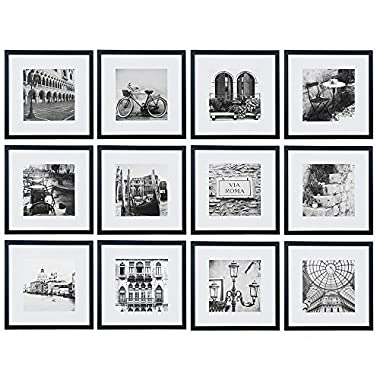Gallery Perfect 12 Piece Black Wood Square Photo Frame Wall Gallery Kit. Includes: Frames, Hanging Wall Template, Decorative Art Prints and Hanging Hardware