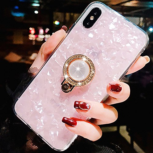 Funda iPhone Xs,Funda iPhone X,Patrón Seashell TPU Suave TPU Shock-Absorption Crystal Bumper Case con Glitter Diamond Anillo 360 Degree Rotation Grip Holder Kickstand para Apple iPhone Xs/X (Rosado)