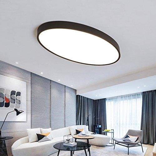 Modern Oval Deckenleuchte Zeitgenössisch Minimalismus LED Wohnzimmer Esszimmer Schlafzimmer Studie Deckenlampe Kreativ Acryl Metall Schwarz Dekorativer Deckenbeleuchtung L55cm*W35cm 24W Weißes Licht