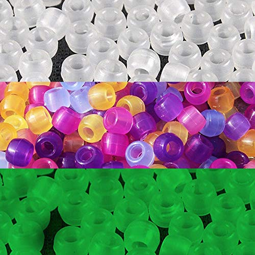 JPSOR 500pcs Uv Beads Multi Color Changing Reactive Plastic Beads Also Glows in The Dark