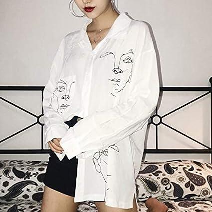 Rebeca de Mujer Top de Manga Larga Solapa Blanca Camisas Informales con Botones completos Camisas y Blusas de Mujer Camisa de Medio Cuerpo con Estampado de Dibujos Animados