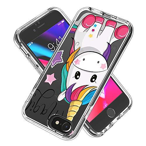 Hülle für iPhone 6s / 6 / iPhone 7/8,Durchsichtig Handyhülle Hybrid Rundumschutz (Hartplastik + Weich TPU Silikon Bumper) Ultradünne Stoßfest Schutzhülle Transparent Cover Case (Einhorn)