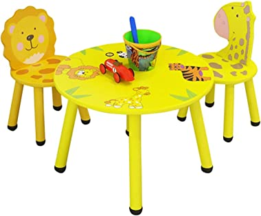 VEKI Children's Cartoon Study Table Game Table, Kids Desk and Chair Set, Children Animal Cartoon Study Table, Game Table for