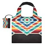 XiangHeFu Bolsas de compras reutilizables para comestibles, bolsas de compras, gran capacidad, patrón cuadrado nativo tribal colorido plegable
