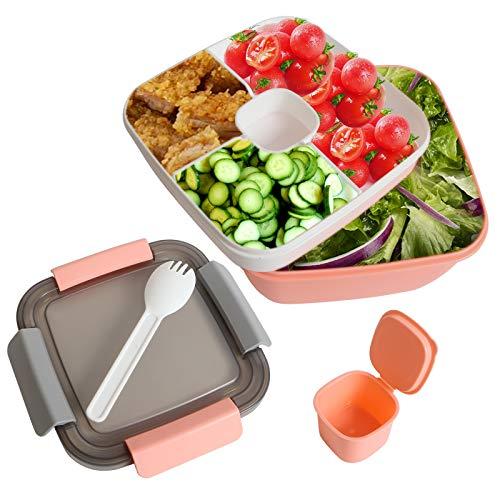 Lunchbox Auslaufsichere Bento Box Salatbehälter mit Dressingbehälter 3 Fächer Salatbox-to-go für Salat und Snacks, Vesperdose Mikrowelle Heizung für Schule/Arbeit/Picknick Reisen (Rosa)