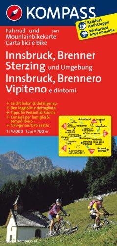 Carta cicloturistica n. 3411. Innsbruck, Brennero, Vipiteno 1:70.000: Fietskaart 1:70 000