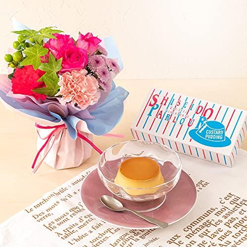 日比谷花壇 資生堂パーラー「プリン詰合せ(2個入)」とそのまま飾れるブーケセット