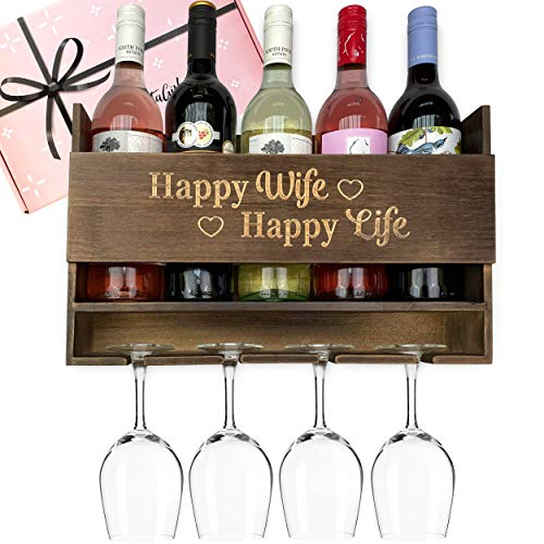GIFTAGIRL Wine Gifts for Wife from Husband - Unique Wife Gifts from Husband Like Our Happy Wife Happy Life Wine Rack, Make for a Memorable Gift for Wife from Husband or as Birthday Gifts for Wife.