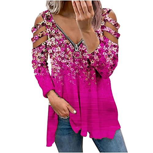 Blusas y camisas para mujer, túnica con tirantes y hombros descubiertos, con cremallera, cuello en V, manga...