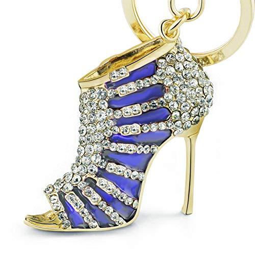 BYBDYSK sleutelhanger bedeltje hoge hak schoenen sleutelhangers sleutelhangers kristal trendy portemonnee tas gesp tas hanger voor auto sleutelhangers sieraden blauw