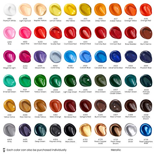 Arteza Acrylic Paint, Set of 60 Colors/Tubes (0.74 oz, 22 ml) with Storage Box, Rich Pigments, Non Fading, Non Toxic Metallic Paints for Artist & Hobby Painters, Art Supplies for Canvas Painting Photo #4