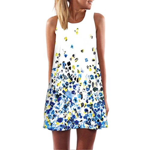 TEBAISE Arbeiten Sie kühle Art-Weinlese Boho Frauen lose Sommer-Feiertags-Datierung reizend ärmelloses 3D Blumendruck Bohe Behälter-Minikleid-geraden Rock um Blau2 48 DE/XXL CN