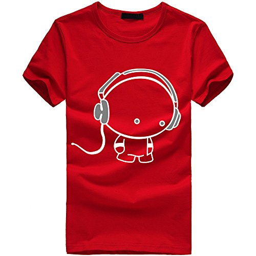 Why Choose EOWEO Men's Short T-Shirt New Men Boy Cotton Tees Shirt Short Sleeve Earphone T-Shirt Clo...
