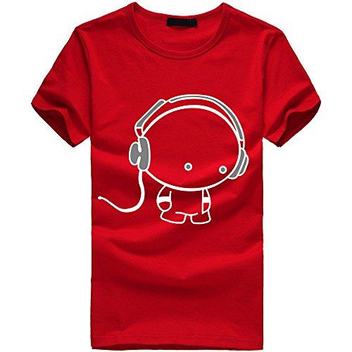 Best Buy! EOWEO Men's Short T-Shirt New Men Boy Cotton Tees Shirt Short Sleeve Earphone T-Shirt Clot...
